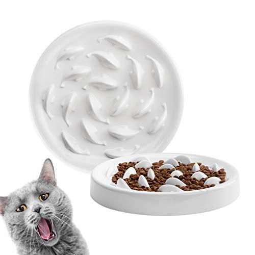 Deioxhy Slow Feeder Cat Bowl to Slow Down Eating Training,Anti Choking Gulping Bloat Indigestion Obesity Dog Cat Food Bowl, Non-Toxic Eco-Friendly Pet Slow Feed Bowl (White)
