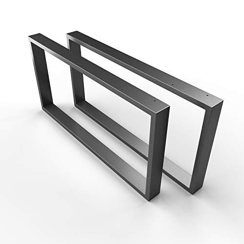 SOSSAI Design Couchtisch Untergestell | ANTHRAZIT | Stahl Tischgestell - pulverbeschichtet | 2 Stück (Paar) | Breite 80 cm x Höhe 40 cm - Tischkufen CKK1
