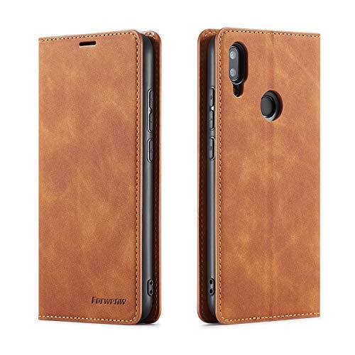 FMPC Hülle kompatibel mit Xiaomi Redmi Note 7/Note 7 Pro, Brieftasche Dünne Handyhülle PU Ledertasche Flip Schutzhülle Kartenfach Geld Slot Ständer - Gelb