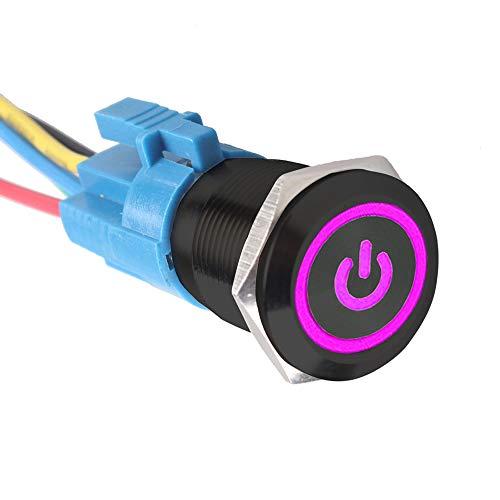 Mintice™ Coquille noire Interrupteur Commutateur Bouton Poussoir en Métal Lumière Eclairage Violet Oeil de l'Ange 19mm 12V 5A pour Voiture Moto Prise de courant