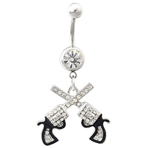 Charmingoutfit Body Jewelry 316L Surgical Steel 14G Clear Crystal Double Revolver Pistol Gun Dangle Belly Navel Ring