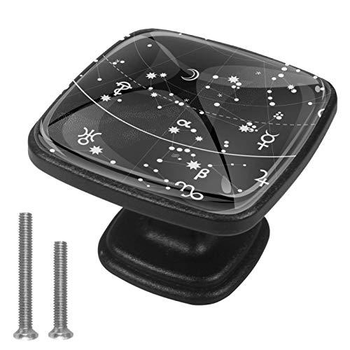 Atlas astronómico del cielo nocturno Perillas de gabinete 4 pcs Round Knobs Knobs Tiradores de puerta de de con tornillos para la cocina de cajón de gabinete