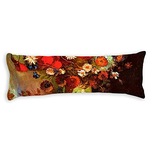Vase With Poppies Cornflowers Peonies Body Pillow Cover Pillowcases Cushion With Hidden Zipper Closure For Sofa Bench Bed Home Decor 20'X54'