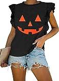 Halloween WomensSummerSleevelessCasualJack O Lartern Pumpkin Face Funny Halloween Novelty TShirtsRuffleTankTops (M, Orange Pumpkin) (Apparel)