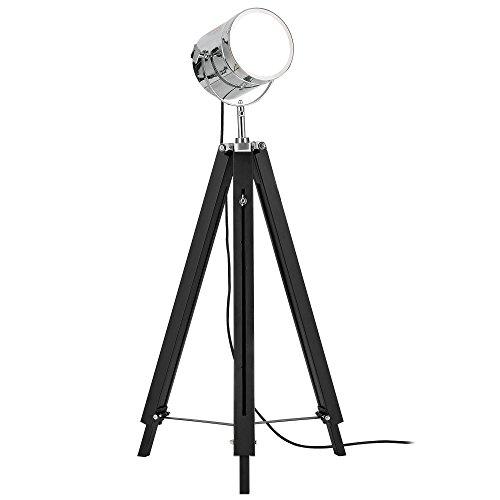 lux.pro] Stehleuchte Tripod (1 x E27 Sockel)(64cm - 140cm) Industrial Design Dreifuss Dreibein Tripod Teleskop Chrom Stehlampe Leuchte
