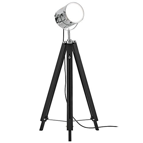 [lux.pro], Tripod, vloerlamp, 1 x E27-fitting, 64 cm - 140 cm, industrieel design, driepoot, driepoot, telescoop, chroom, vloerlamp