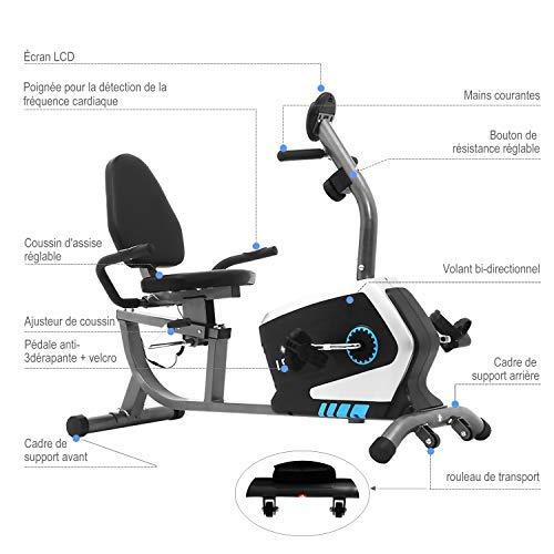 41t606bjR3L - ISE Bicicleta Estática de Spinning Ejercicio Gimnasio con 8 Niveles de Resistencia, Volante de Inercia, Sensor de Pulso, Bicicleta Elíptica de Fitness con Pantalla, Sillín Ajustable, Máx.120kg,SY-6801