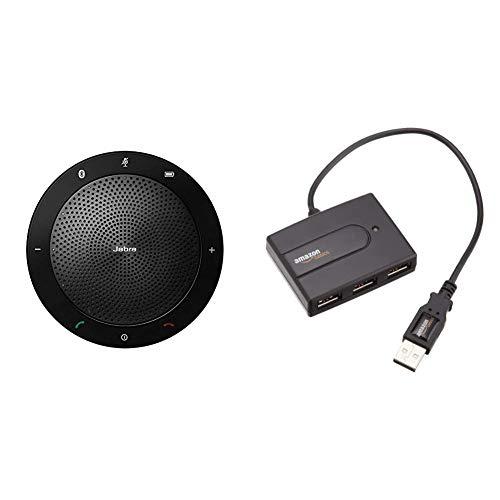 Jabra Speak 510 Altavoz portátil con USB y Bluetooth®, CU, Negro & Amazon Basics - Hub USB 2.0 con 4 Puertos