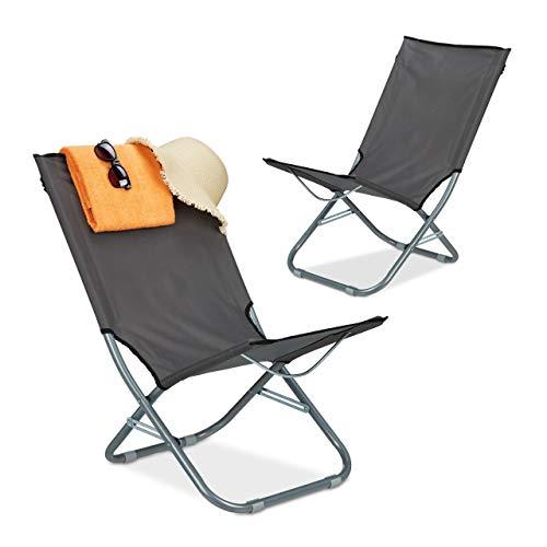 Relaxdays Juego de 2 tumbonas Plegables con Respaldo Alto, para Camping, de Hierro, para jardín, balcón, 79 x 48,5 x 65 cm, Color Gris