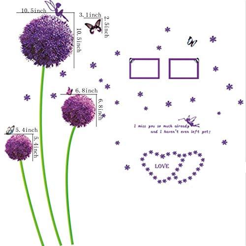 Tatuaje en la pared, diseño de flores moradas, diente de león, mariposas, decoración para el hogar, adhesivos murales