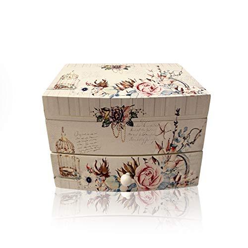 Joyero Musical, cajón musical para Joyas, Cofre de almacenamiento de Collares, anillo, y pendientes, organizador de diseños juveniles, ideal para regalo con espejo pequeño(Flores)