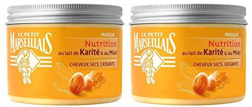 Le Petit Marseillais - Masque Nutrition Cheveux Secs / Abîmes / Cassants - Au Lait et beurre de Karite et Miel - Pot 300 ml - Lot de 2