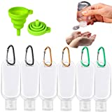 Travel Bottles Keychain, 2oz/50ml Plastic Keychain Bottles Empty Leakproof Refillable Hand Sanitizer Bottles Containers with Flip Cap Portable Squeezable Bottles for Travel, Outdoor, School 6 Pack