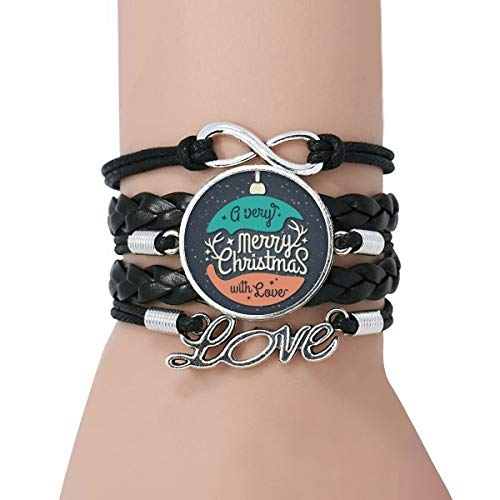 DIYthinker Womens Christmas Colorful Garland Abstract Illustration Bracelet Love Black Twisted Leather Rope Wristband