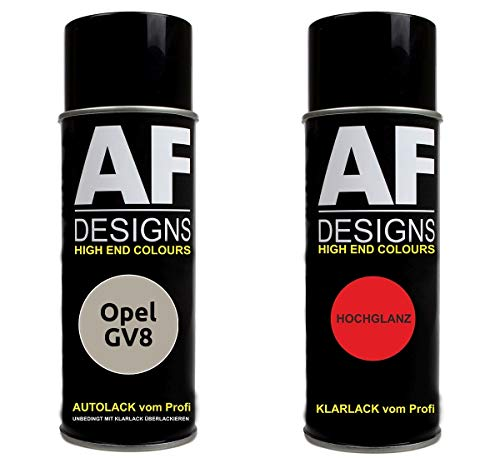 Alex Flittner Designs Autolack Spraydose Set für Opel GV8 Creamy BEIGE Pearl metallic Basislack Klarlack Sprühdose 400ml