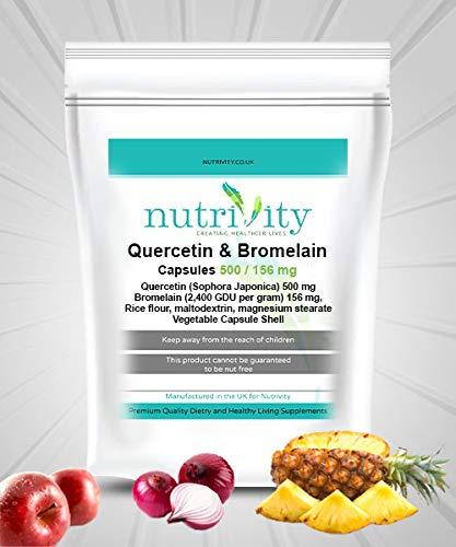 Quercetin & Bromelain Veg Capsules Immune Booster, Swollen Joints by Nutrivity (30)