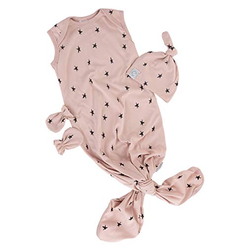 Ely's & Co. Newborn Knotted Wearable Blanket and Knot Hat Set with Matching Mittens - 100% Knit Cotton for Baby Girl (Pink with Black Stars, 0-6 Months)