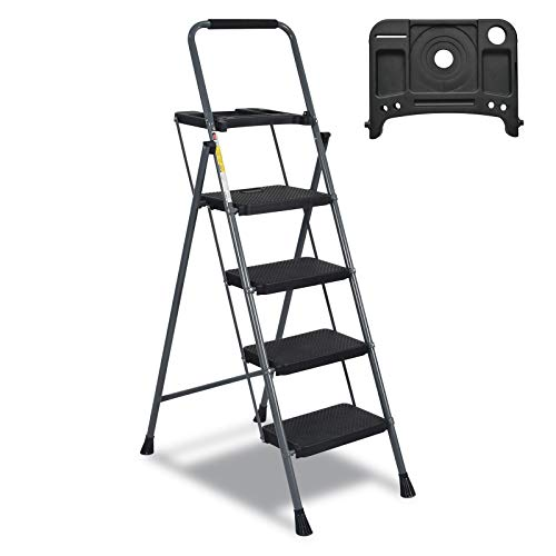 CharaVector 4 Step Ladder,Folding Step Ladder with Built-in Tool Platform and Anti-Slip Feet,Step Ladder with handrail