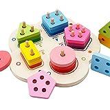 [テンカ]知育玩具 木製 積み木 型はめ 形合わせ 幾何認知 立体パズル 円柱 子供用 幼児用 男の子 女の子 おもちゃ 誕生日 プレゼント 出産祝い