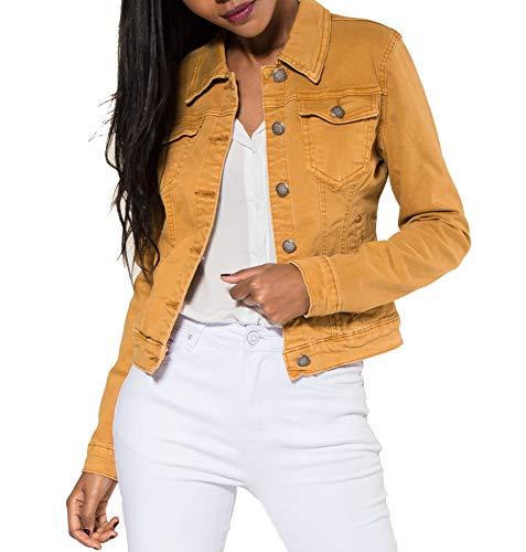 EGOMAXX Chaqueta Corta De Jeans para Mujeres Chaqueta Corta De Primavera Denim West, Color:Mostaza, Talla:38