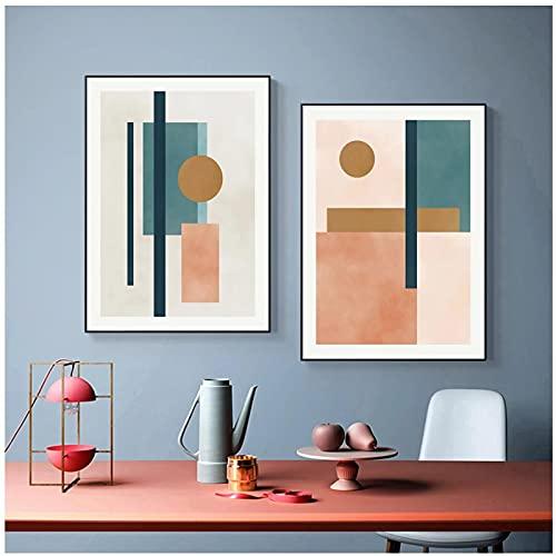 Moderno Abstracto Acuarela Beige Rosa Azul Lienzo Pintura Pared Arte Carteles Impresiones Imagen Sala de Estar decoración del hogar - (50x70cm) x2pcsNoFrame