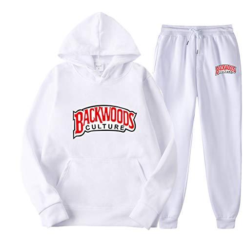 GIRLXV Backwoods Sudadera con Capucha Polar Fleece Moda Béisbol Uniforme Calle Sudadera para Hombres Y Mujeres Conjunto De Letras De Moda XL