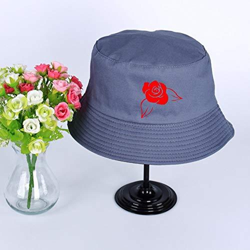 JIACHIHH Sombrero De Pescador Algodón,Impresión De Imágenes De Rosas Rojas Cuchara Sombrero Azul Verano Unisex Visera Exterior Hat Pescador Pesca Hat