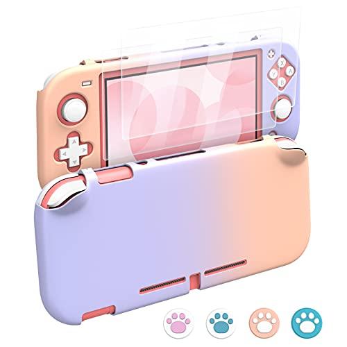 MoKo Funda Compatible con Nintendo Switch Lite,Protectora PC con 4 Tapas de Agarre Pulgar y 2 Protectores Pantalla de Vidrio...