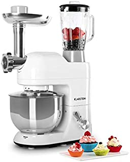KLARSTEIN Lucia Bianca • Multifunction Stand Mixer • Kitchen Machine • 650 Watts • 5.3 qt Bowl • 1.3 qt Mixing Glass • Meat Grinder • Pasta Maker • Blender • Adjustable Speed • White