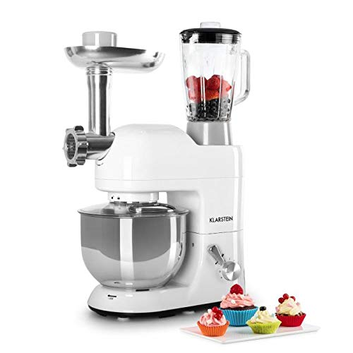 KLARSTEIN Lucia Bianca • Multifunction Stand Mixer • Kitchen Machine • 650 Watts • 5.3 qt Bowl • 1.3 qt Mixing Glass • Meat Grinder • Pasta Maker • Blender • Adjustable Speed • White
