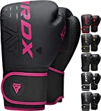 RDX Kids Boxing Gloves Sparring and Muay Thai Maya Hide Leather, KARA Patent Pending Junior Training Mitt for Kickboxing, Punching Bag, Focus Pads, MMA, Thai Pad, Double End Ball Punching Fight Gloves