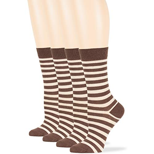 7BigStars Women's Cotton Dress Socks - 4 Pack Medium - Casual Crew Lightweight Business - Sock Size 9-11 Shoe Size 5-9 M Striped Brown