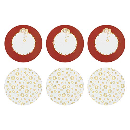 THUN ® - Set 6 Sottobicchieri tondi - Sughero - Linea'Dolce Natale' - Ø 10 cm