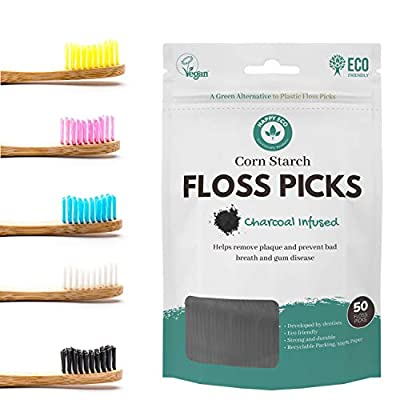 Happy Eco - Bamboo Wooden Toothbrush with Natural Dental Floss Picks- Vegan, Eco Friendly, Sustainable, Recyclable Toothbrushes and Flossers for Zero Waste Oral Care (Soft bristles, Charcoal)