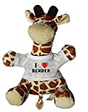 Shopzeus Jirafa de Peluche (Juguete) con Amo Bender en la Camiseta (Nombre de Pila/Apellido/Apodo)