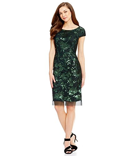 Antonio Melani Gwen Sequin Mesh Sheath Dress (8) Green