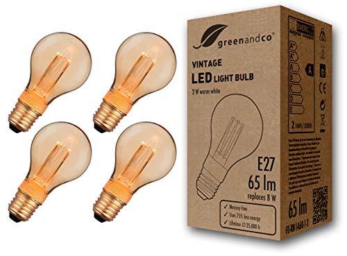 4x greenandco® Vintage Design LED Birne im Retro Stil zur Stimmungsbeleuchtung E27 A60 Edison Glühbirne, 2W 65lm 1800K extra warmweiß 320° 230V flimmerfrei, nicht dimmbar, 2 Jahre Garantie