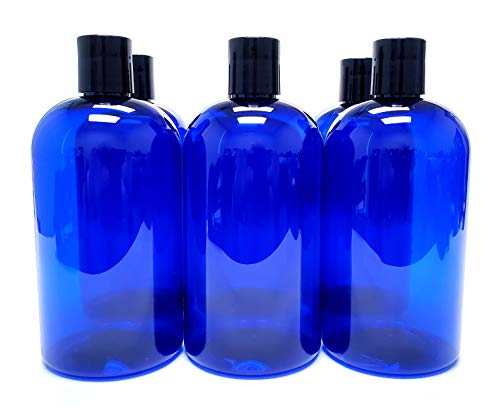 ljdeals 16 oz Cobalt Blue PET Plastic Refillable Bottles with Disc Top Caps, Pack of 6, BPA Free, Made in USA, Bonus 6 waterproof Labels