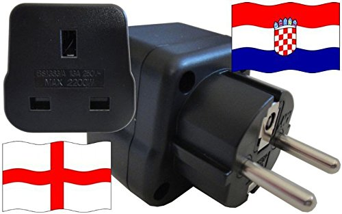 Adaptador de enchufe para Croacia – Adaptador de enchufe de Inglaterra con protección de contacto enchufe de viaje