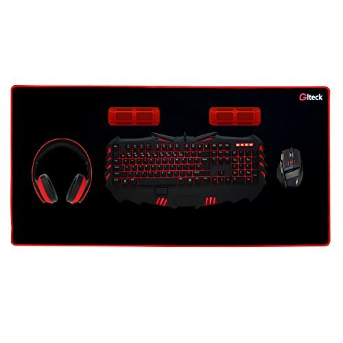 Gaming Mouse Pad XXXL/Extended Large Mat Desk Pad 36'x16.5' GLTECK Mousepad Long Non-Slip Rubber Mice Pads Stitched Edges with Portable Bag