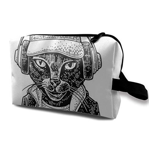 Schminktasche Kosmetiktasche Cat Headphones Dressed Hoodie Baseball Cap Brooklyn Bridge Multifunktionale Tasche Travel Kit Aufbewahrungstasche