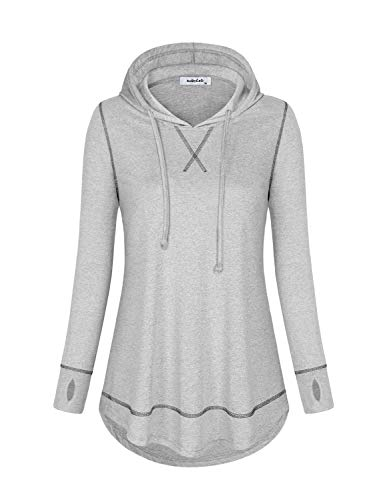 AxByCzD Gym Hoodie for Women,Long Sleeve Athleisure Clothes Fashion 2020 Sports Running Pullover Fast Dry Activewear Vintage Outdoor Lounge Wear Fall Winter Shirts Grey XX-Large