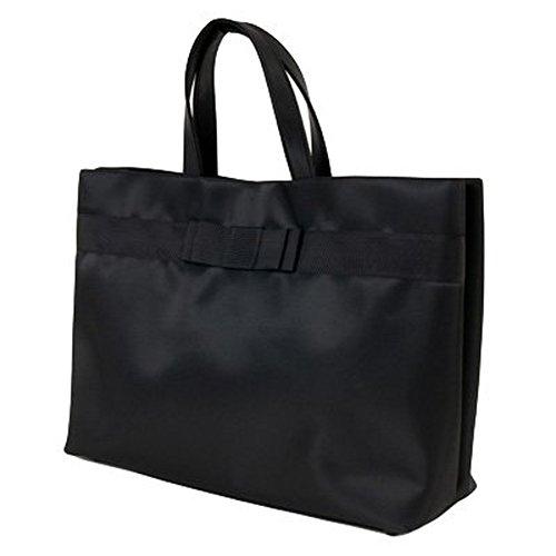 【自立型バッグ】ナイロンサテン ビッグトート 幅広ダブルリボン【黒】【当店オリジナル正規品】