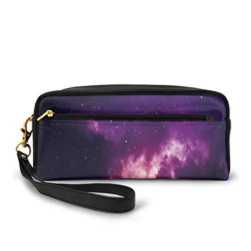 Pencil Case Pen Bag Pouch Stationary,Stars in Dark Night Sky Comet Constellation Deep Light Years Themed Artsy Image,Small Makeup Bag Coin Purse