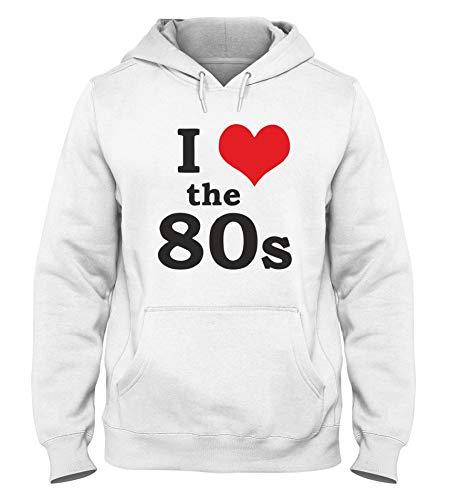 Sudadera con Capucha para Hombre Blanca TR0067 I Love The 80S 80 S Eighties Disco