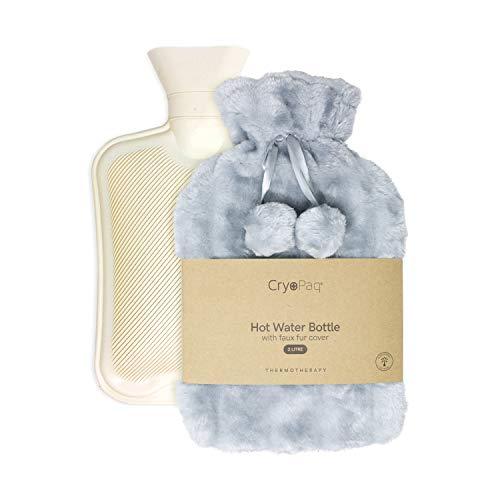 Bolsa de agua caliente afelpada, muy confortable para las noches de invierno. Lujosa botella de 2L con funda extra suave de peluche. Un regalo respetuoso con el medio ambiente. Cryopaq – Gris Claro.