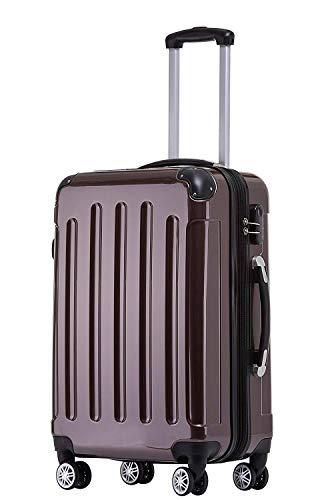 BEIBYE Zwillingsrollen 2048 Hartschale Trolley Koffer Reisekoffer Taschen Gepäck in M-L-XL-Set (Coffee, L)