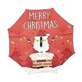 Mr.XZY Paraguas invertido Merry Christmas Santa Claus Chimenea Invierno a prueba de viento Protección UV Doble Capa Paraguas invertido con mango en forma de C 2010319