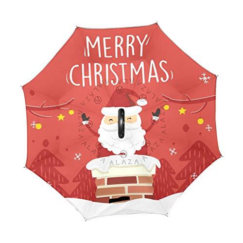 Mr.XZY Merry Christmas Inverted Regenschirm Weihnachtsmann Schornstein Winter Winddicht UV-Schutz Doppellagig Inverted Regenschirm mit C-förmigem Griff 2010319
