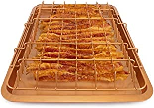 EaZy MealZ Bacon Rack & Tray Set   Up to 18 Strips of Bacon   Tray & Grease Catcher   Even Cooking   Non-Stick   Healthy Cooking   Extra Large